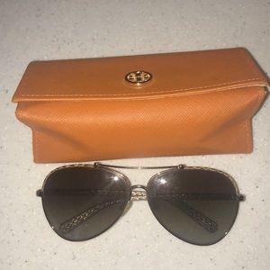 Tory Burch snakeskin aviator sunglasses + case